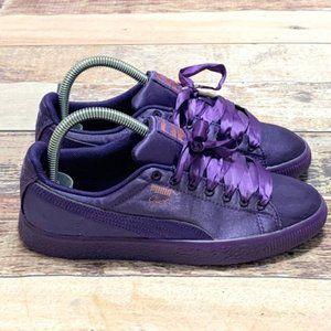"Puma ""Clyde"" Purple Satin Sneakers"